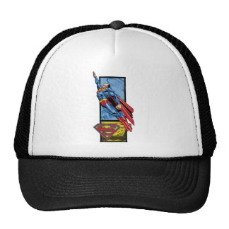 Superman jumps up with logo trucker hat