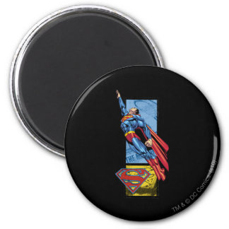 Superman jumps up with logo magnet