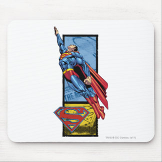 Superman jumps up with logo mouse mat