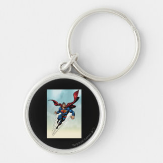 Superman leaps upward key ring