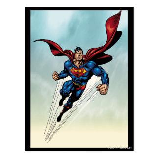 Superman leaps upward postcard