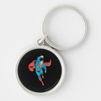 Superman Left Fist Raised Silver-Colored Round Key Ring