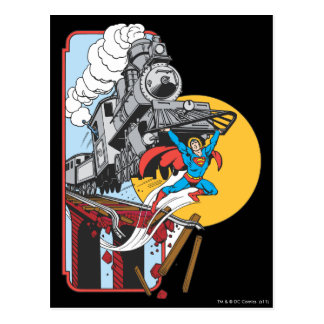Superman Lifts Train Postcard