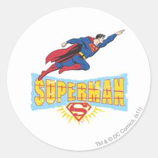 Superman Logo and Flight Classic Round Sticker