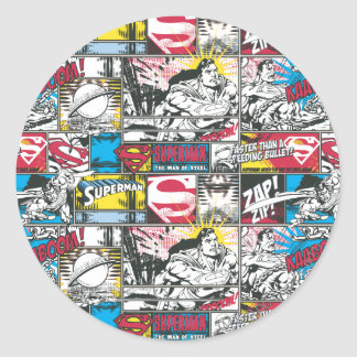 Superman Logo Pattern 2 Classic Round Sticker