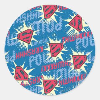 Superman Logo Pattern Classic Round Sticker