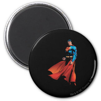 Superman Looks Front 6 Cm Round Magnet