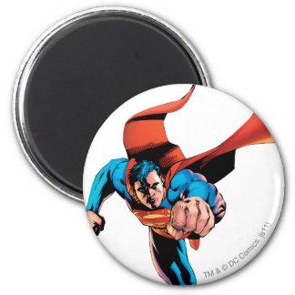 Superman moving forward 6 cm round magnet