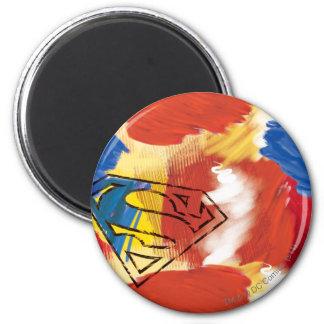 Superman Painted Logo 6 Cm Round Magnet