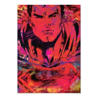Superman Red Grunge 13 Cm X 18 Cm Invitation Card