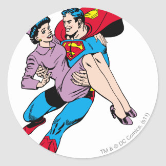 Superman rescues Louis Classic Round Sticker