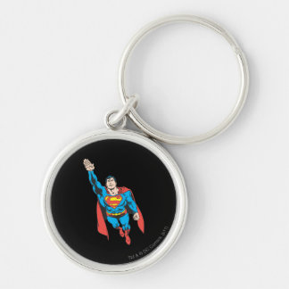Superman Right Arm Raised Silver-Colored Round Key Ring