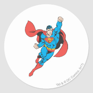 Superman Right Fist Raised Round Sticker