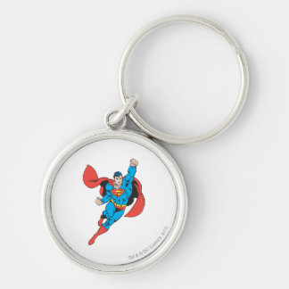 Superman Right Fist Raised Silver-Colored Round Key Ring