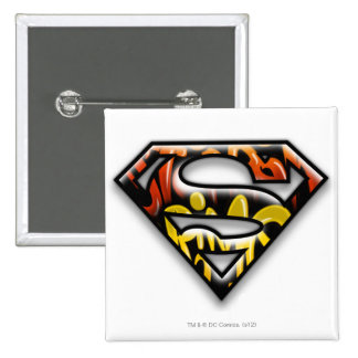 Superman S-Shield | Black Outline Graffiti Logo 15 Cm Square Badge