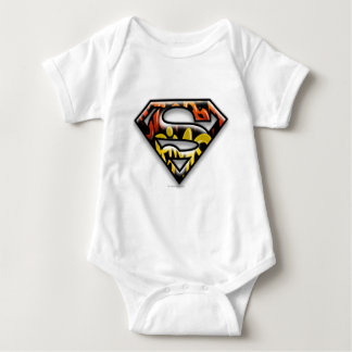 Superman S-Shield | Black Outline Graffiti Logo Baby Bodysuit