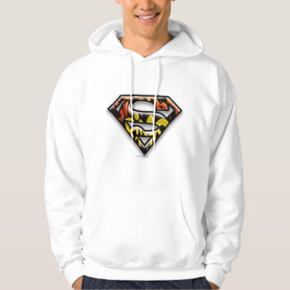 Superman S-Shield   Black Outline Graffiti Logo Hoodie