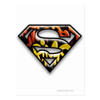 Superman S-Shield | Black Outline Graffiti Logo Postcard