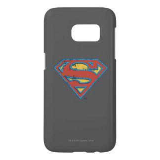 Superman S-Shield | Blue Outline Grunge Logo