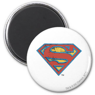 Superman S-Shield | Blue Outline Grunge Logo 6 Cm Round Magnet