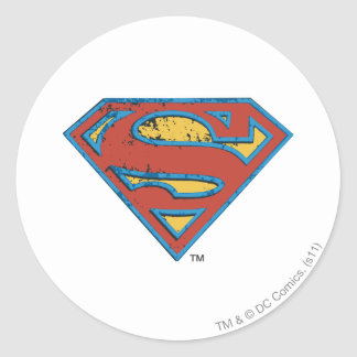 Superman S-Shield | Blue Outline Grunge Logo Classic Round Sticker