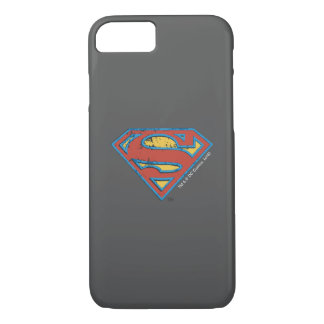 Superman S-Shield | Blue Outline Grunge Logo iPhone 8/7 Case