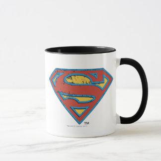 Superman S-Shield   Blue Outline Grunge Logo Mug