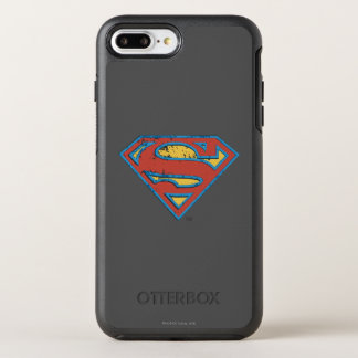Superman S-Shield | Blue Outline Grunge Logo OtterBox Symmetry iPhone 8 Plus/7 Plus Case