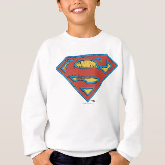 Superman S-Shield | Blue Outline Grunge Logo Sweatshirt