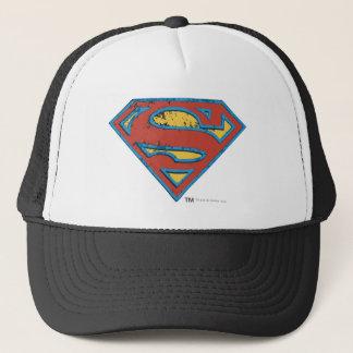 Superman S-Shield | Blue Outline Grunge Logo Trucker Hat