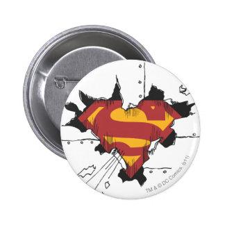 Superman S-Shield   Broken Metal Logo 6 Cm Round Badge
