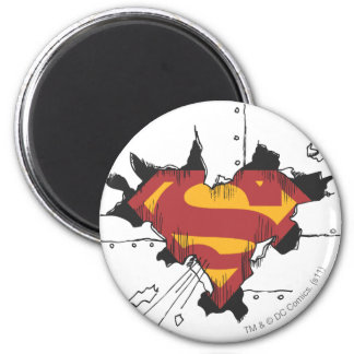 Superman S-Shield | Broken Metal Logo 6 Cm Round Magnet