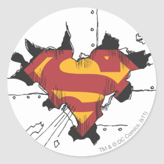 Superman S-Shield | Broken Metal Logo Classic Round Sticker