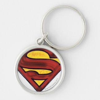 Superman S-Shield   Darkened Red Logo Key Ring