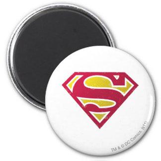 Superman S-Shield | Distressed Dots Logo 6 Cm Round Magnet