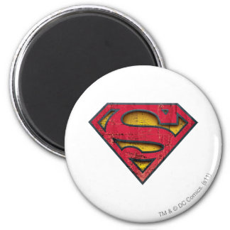 Superman S-Shield | Distressed Logo 6 Cm Round Magnet