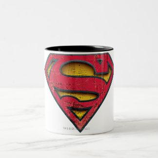 Superman S-Shield   Distressed Logo Two-Tone Coffee Mug