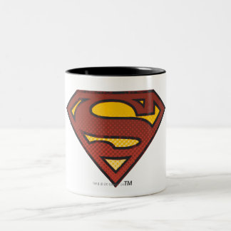 Superman S-Shield | Faded Dots Logo Two-Tone Coffee Mug