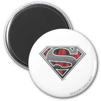 Superman S-Shield | Grey and Red City Logo 6 Cm Round Magnet
