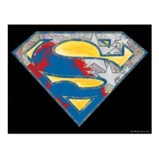 Superman S-Shield | Grey Yellow Red Black Mix Logo Postcard
