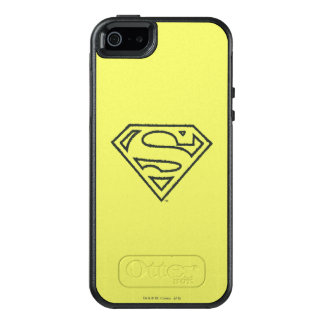 Superman S-Shield | Grunge Black Outline Logo 2 OtterBox iPhone 5/5s/SE Case