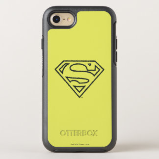Superman S-Shield | Grunge Black Outline Logo 2 OtterBox Symmetry iPhone 8/7 Case