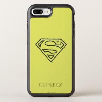 Superman S-Shield | Grunge Black Outline Logo 2 OtterBox Symmetry iPhone 8 Plus/7 Plus Case