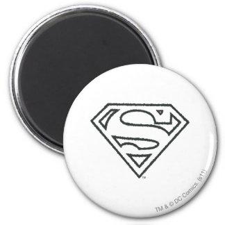 Superman S-Shield | Grunge Black Outline Logo 6 Cm Round Magnet