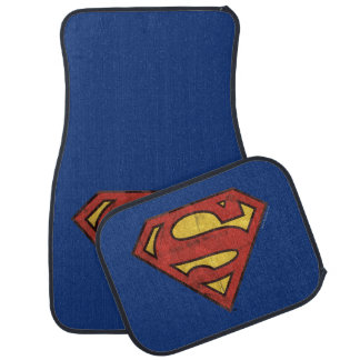 Superman S-Shield | Grunge Black Outline Logo Car Mat