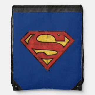 Superman S-Shield   Grunge Black Outline Logo Drawstring Bag