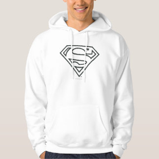 Superman S-Shield | Grunge Black Outline Logo Hoodie