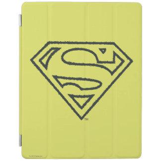 Superman S-Shield   Grunge Black Outline Logo iPad Cover