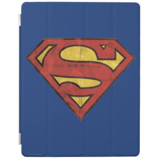 Superman S-Shield | Grunge Black Outline Logo iPad Cover