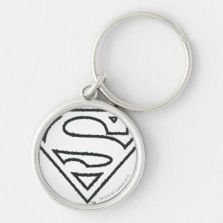 Superman S-Shield   Grunge Black Outline Logo Key Ring